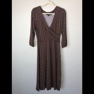 Boden | Faux Wrap Brown Geometric 3/4 Dress 12L US